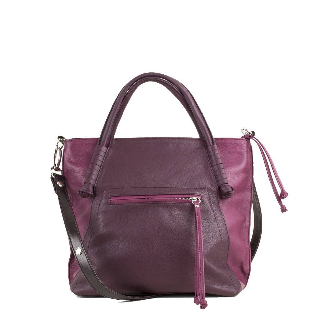 Amy Magenta Leather Tote Bag