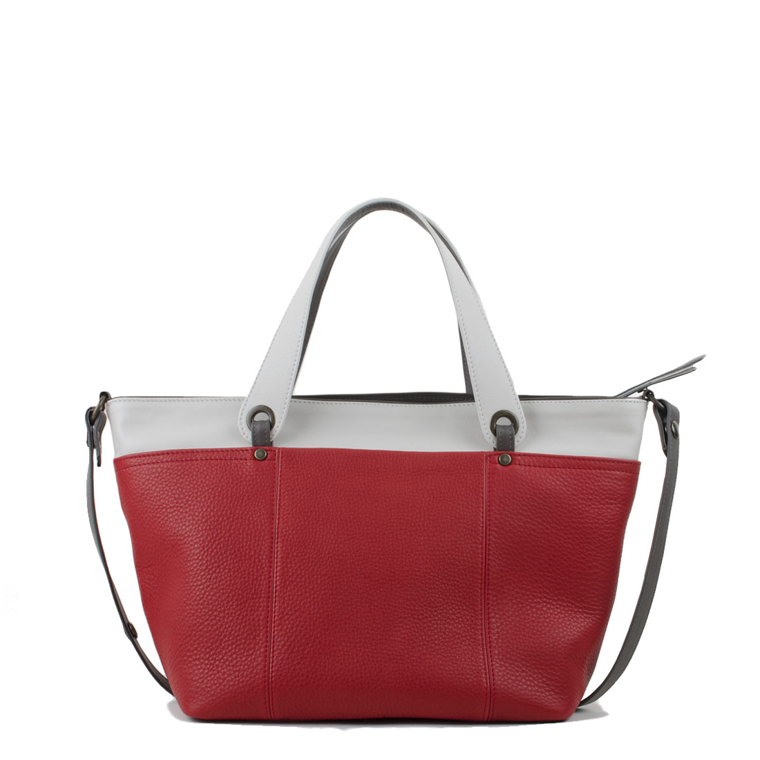 Lucy Coral Red Polvere Leather Tote Bag