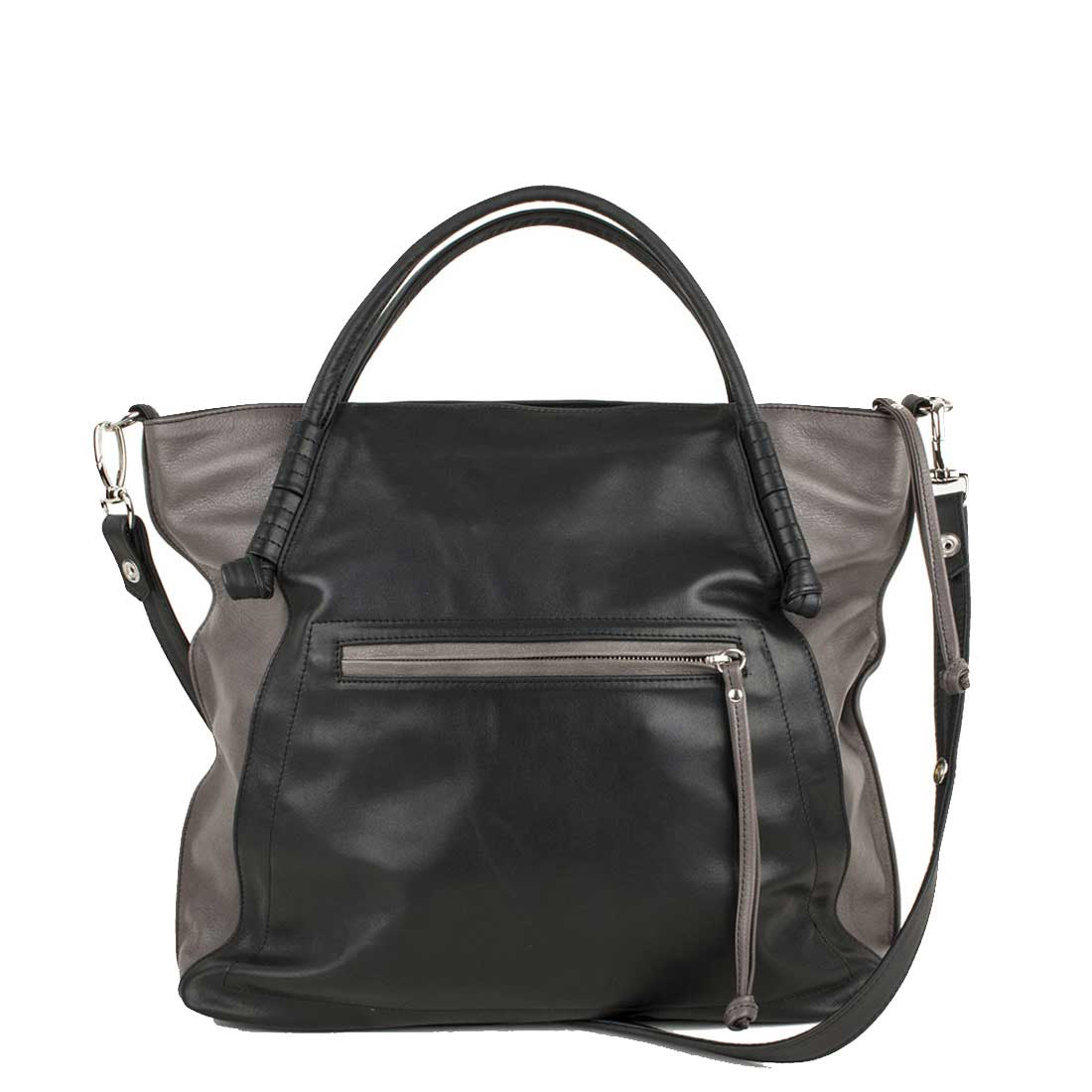 Amber Grigio Black Leather Tote Bag