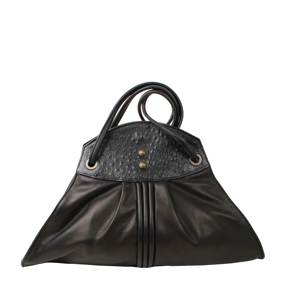 Piped A Line Black Leather Shoudler Bag