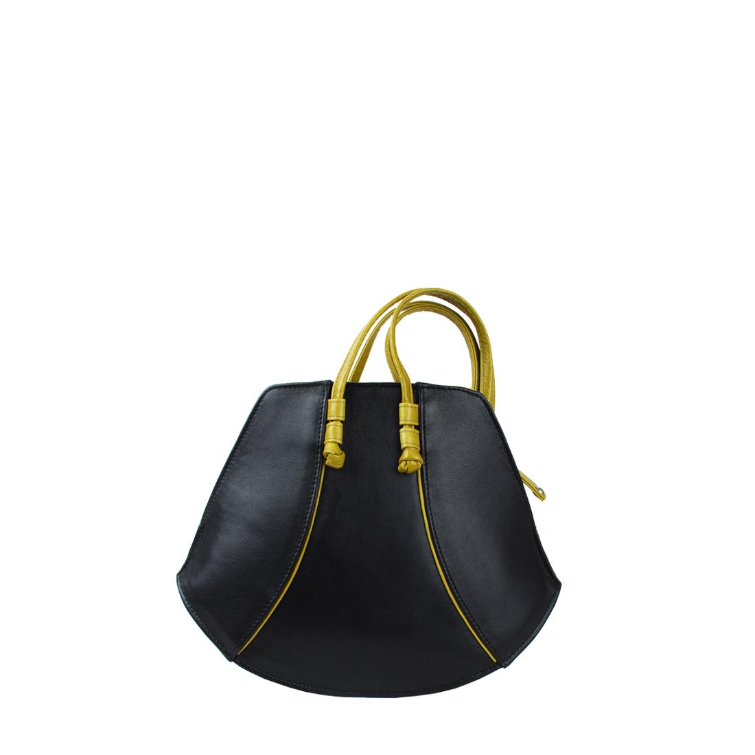 Wedge Black Leather Shoulder Bag