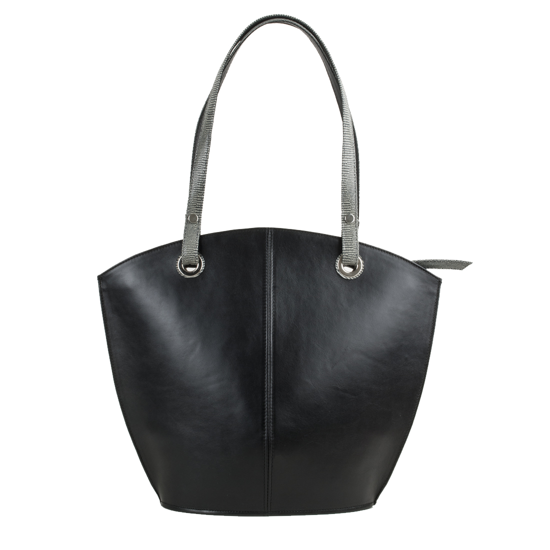 Audrey Black Leather Tote Bag