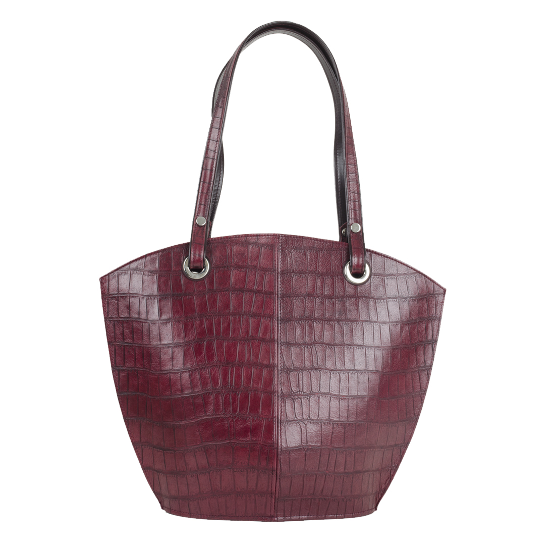 Audrey Burgundy Crocodile Print Leather Shoulder Bag