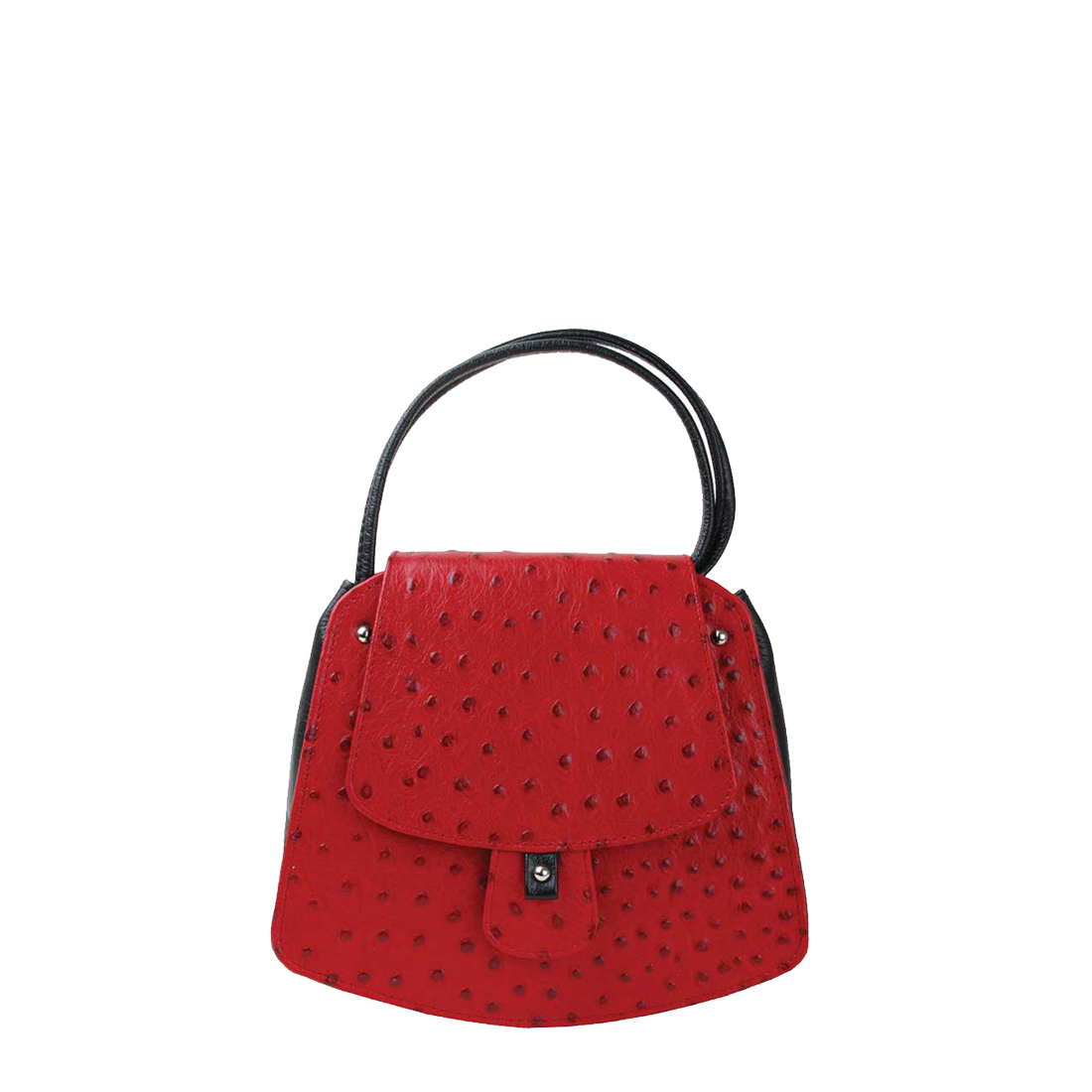 Clara Red Ostrich print Leather Shoulder Bag