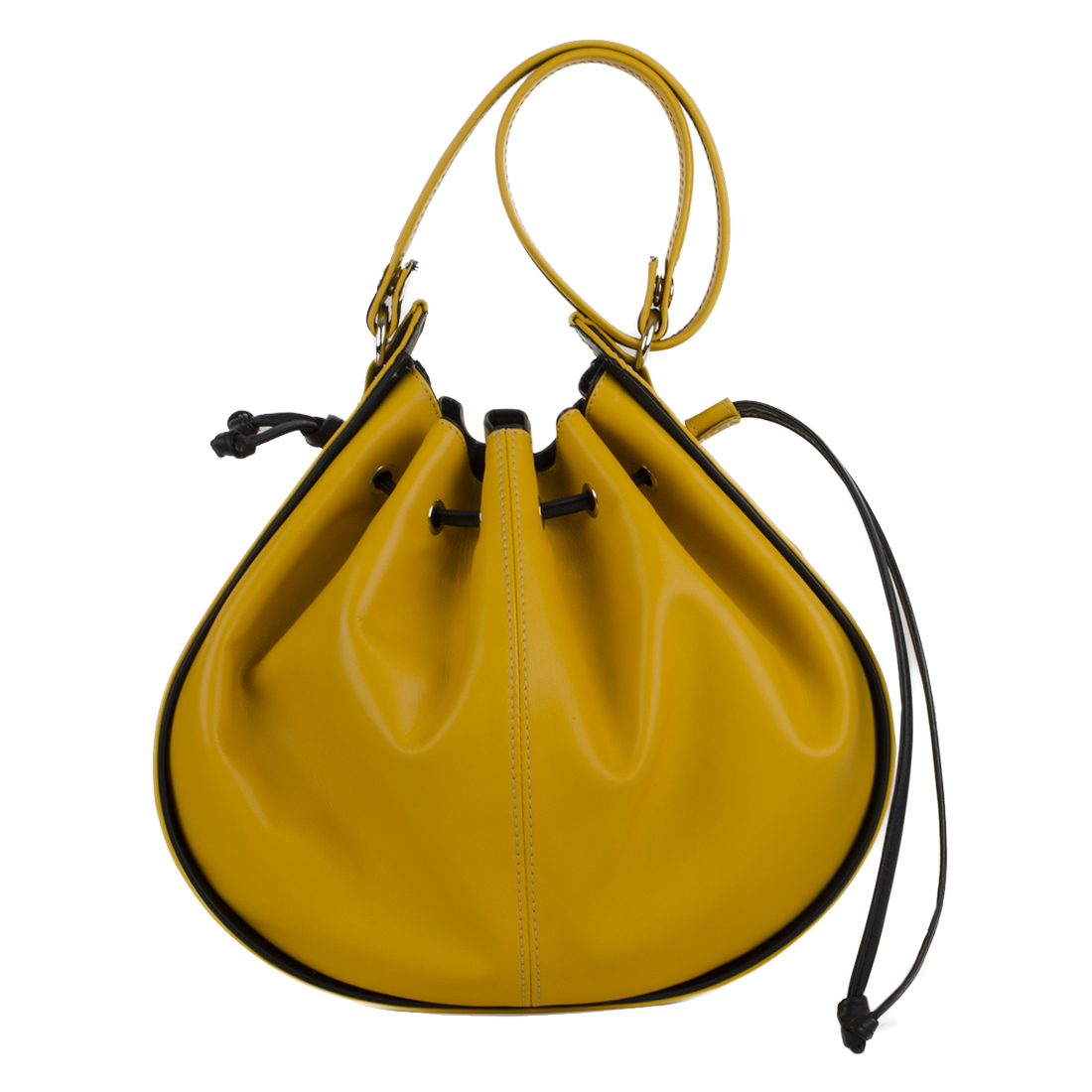 Daisy Yellow Black Leather Shoulder Bag