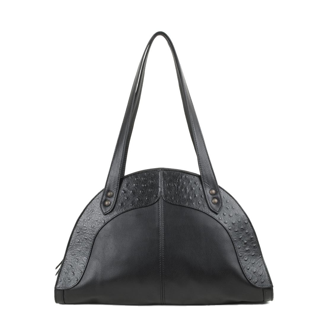 Edie Black Leather Shoulder Bag