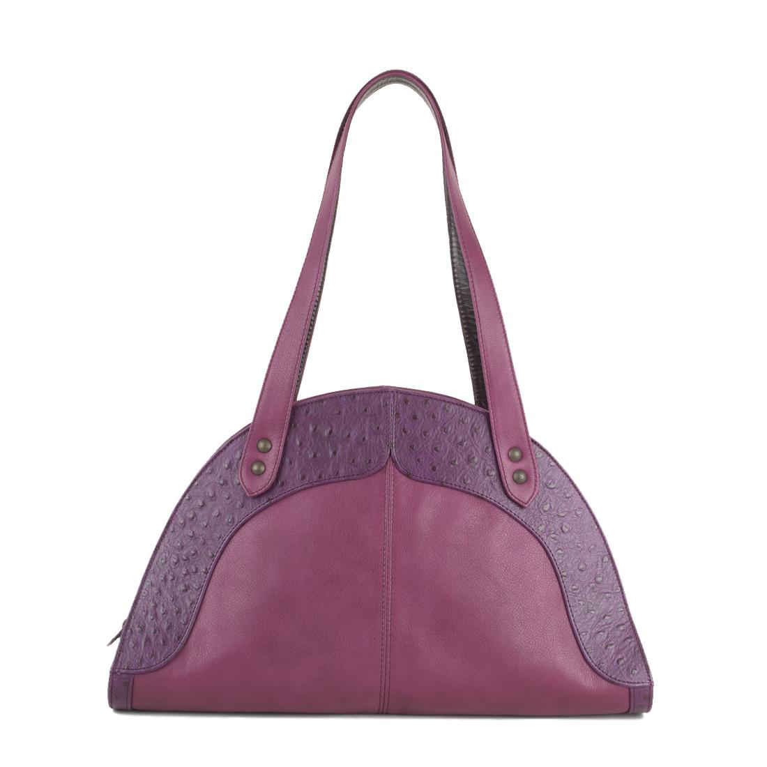 Edie Magenta Leather Shoulder Bag