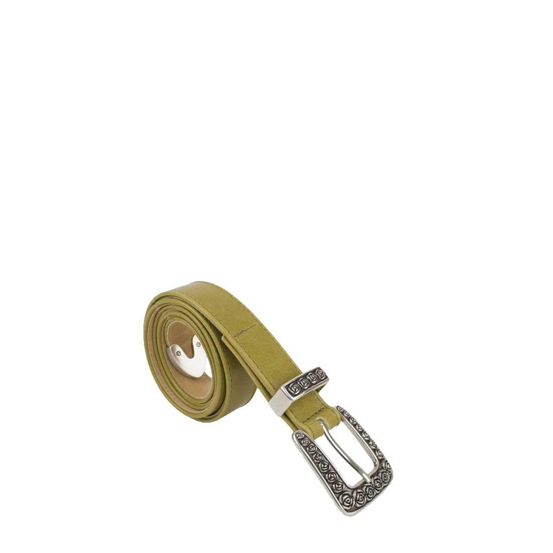 Rose Lime Leather Belt