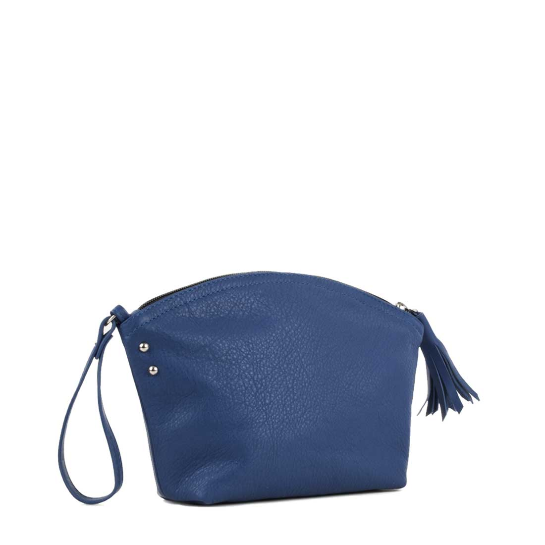 Wrist Bag In Blue Leather