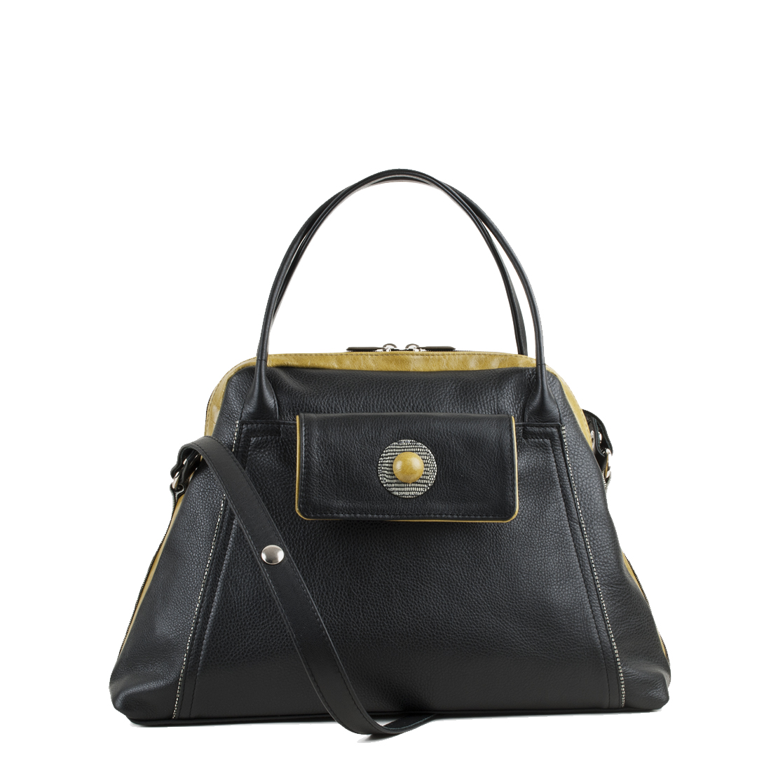 Lottie Black Leather Shoulder Bag
