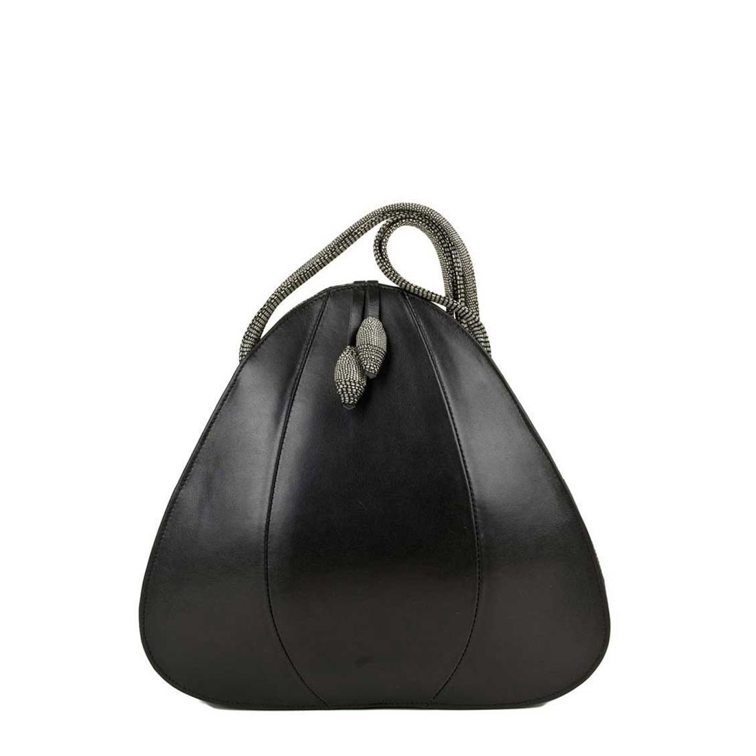 Petal Black Leather Shoulder Bag