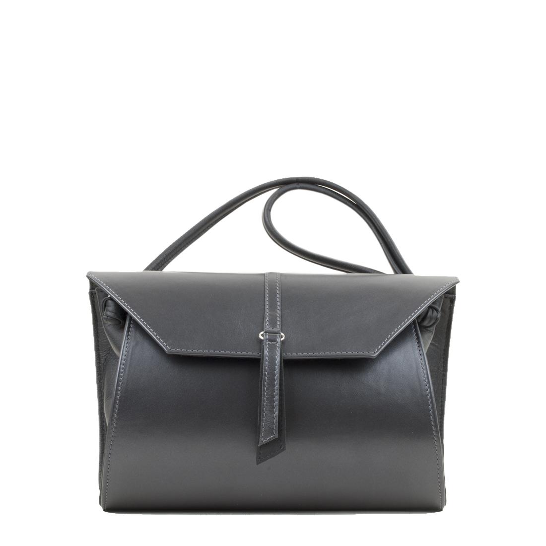 Rosa Anthracite Pearl Leather Shoulder Bag