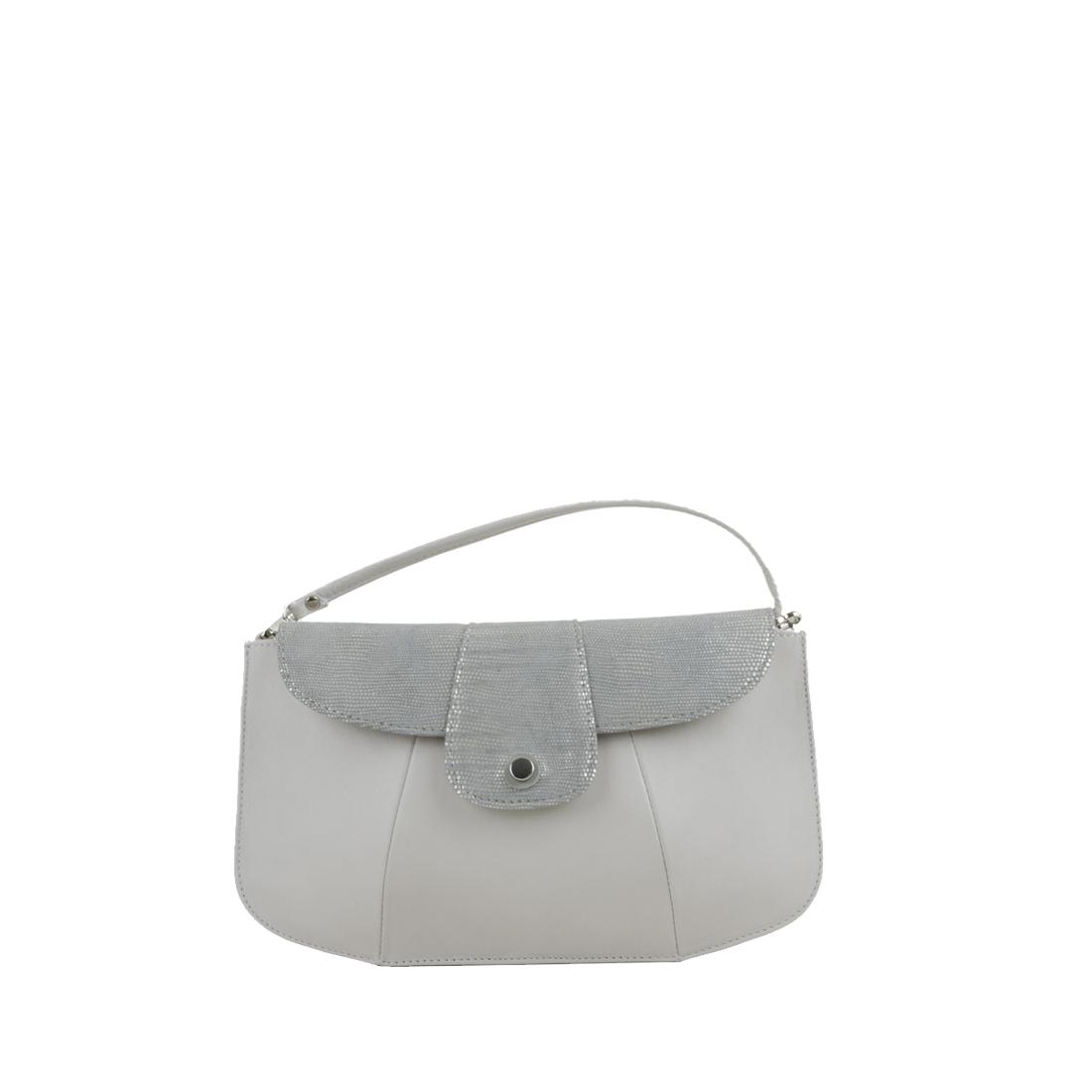 Ruby Silver Eel Print Leather Shoulder Bag