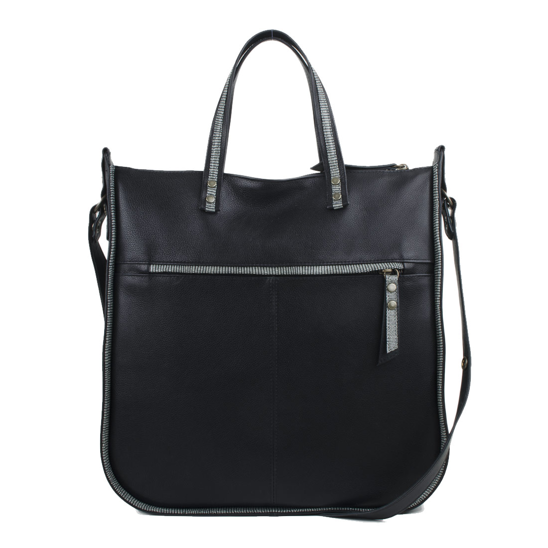 Tessa Black Leather Tote