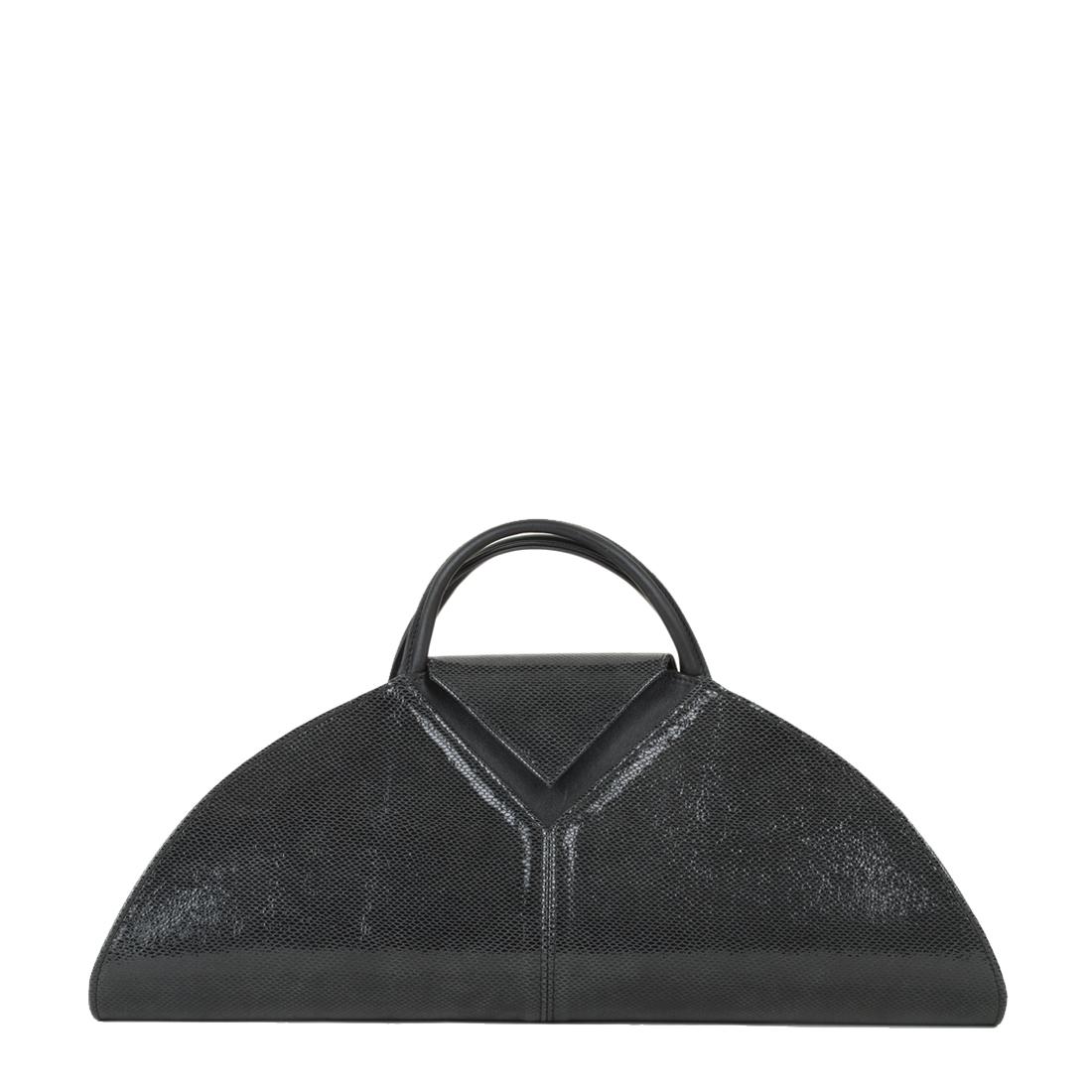 V Clutch Black Print Leather Handbag