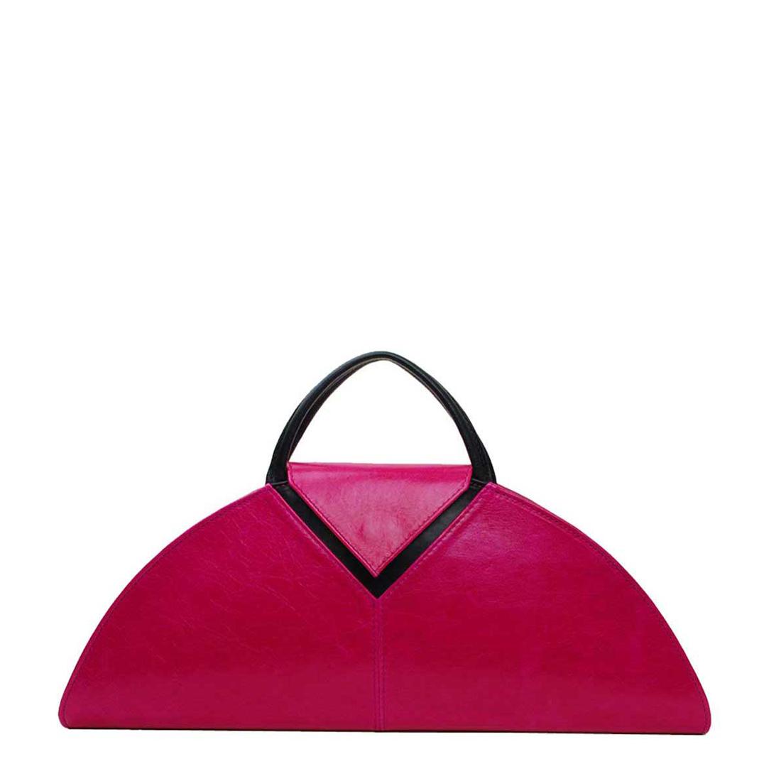 V Clutch Fuchsia Leather Handbag