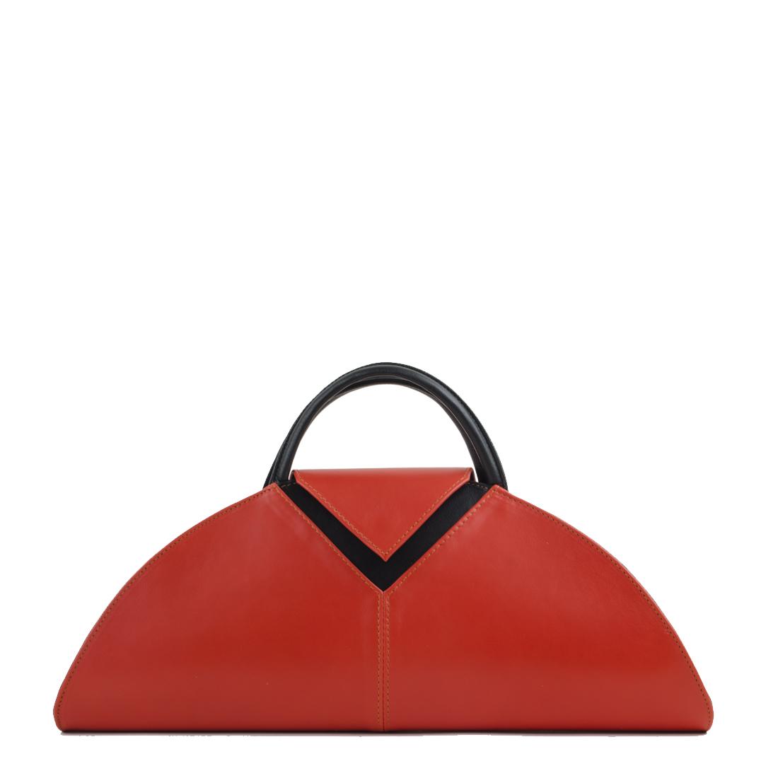 V Clutch Orange Black Leather Handbag