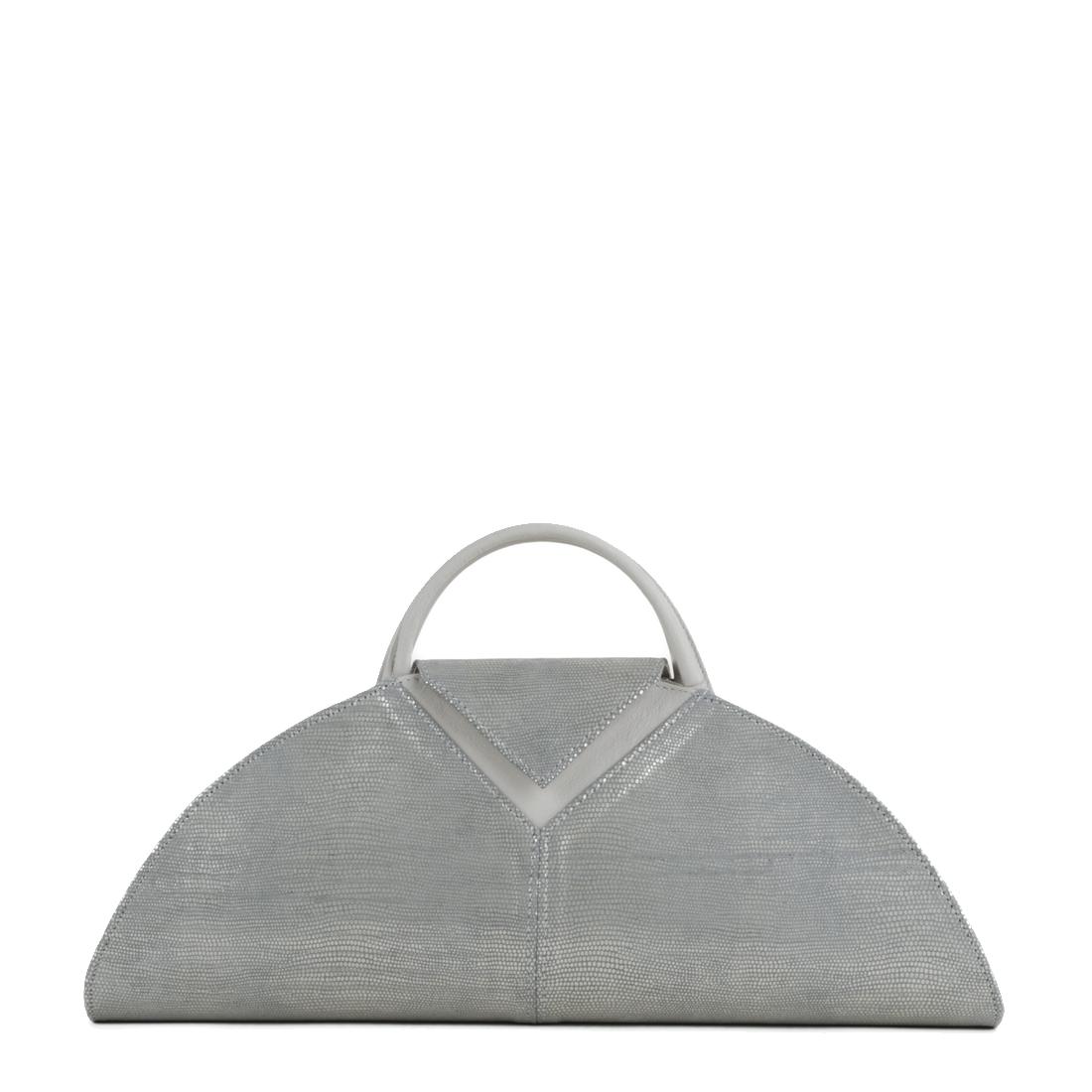 V Clutch Silver Eel Print Leather Handbag
