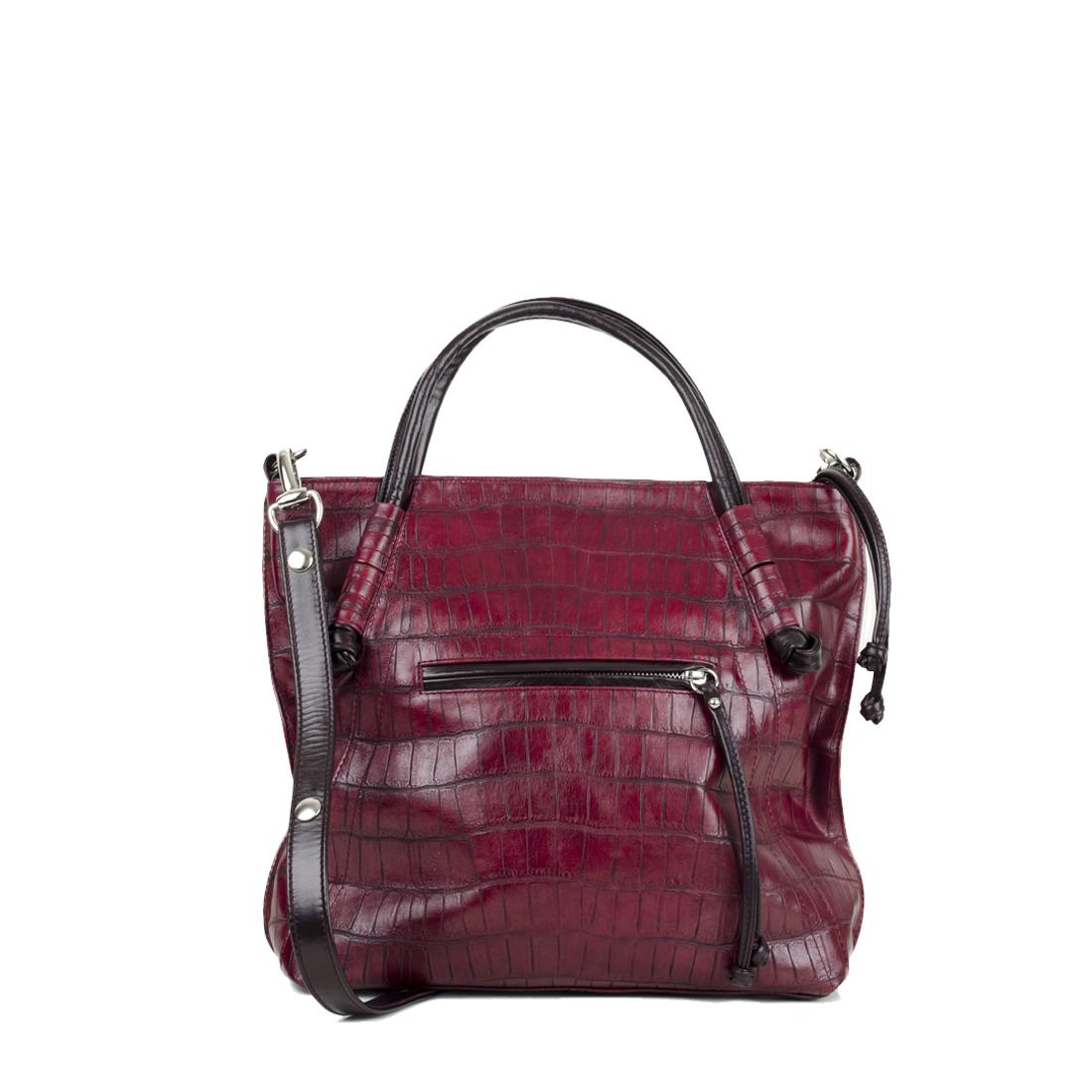 Amy Burgundy Crocodile Print  Leather Tote Bag