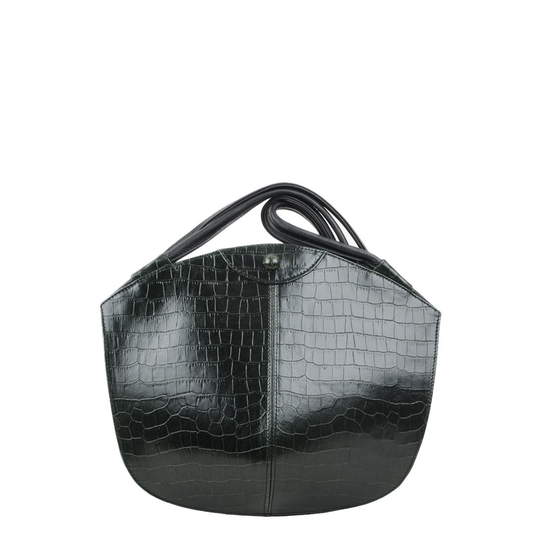 Carmen Dark Green Crocodile Print Leather Shoulder Bag