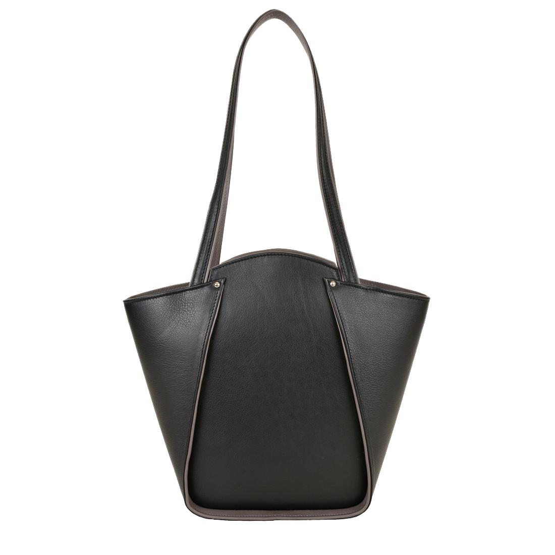Greta Black Structured Leather Shoulder Bag