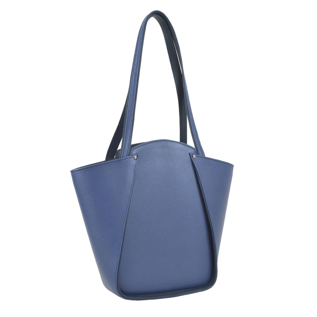 Greta Chalk Blue Structured Leather Shoulder Bag