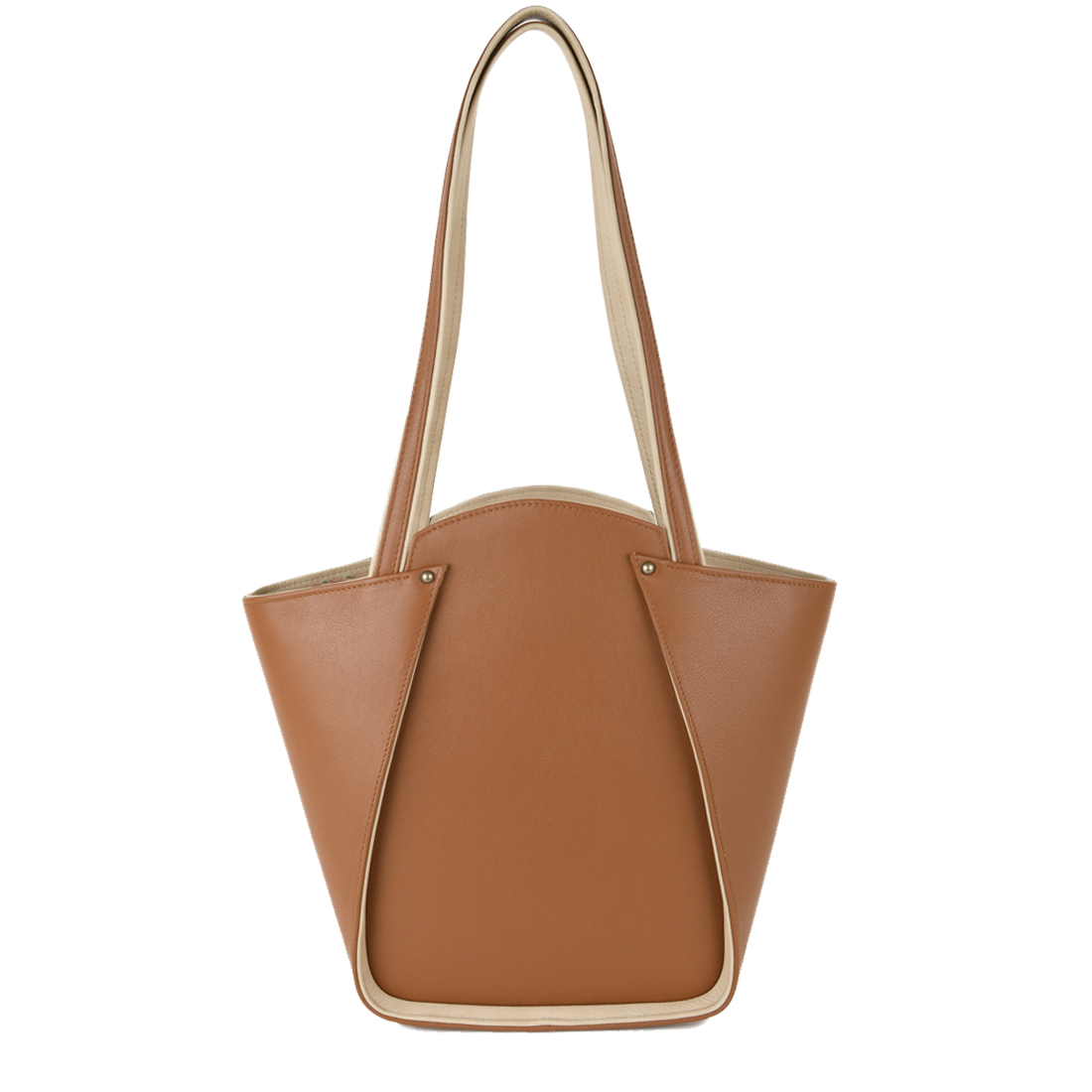 Greta Tan Structured Leather Shoulder Bag