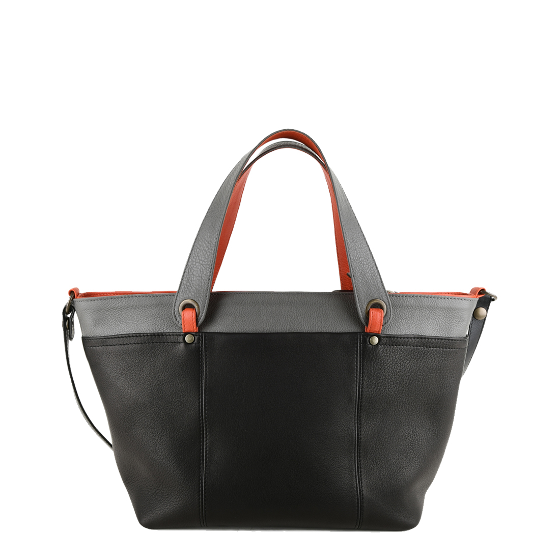 Lucy Black Orange Leather Tote Bag