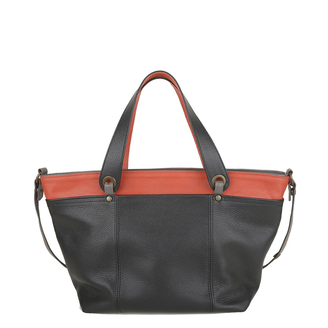 Lucy Black Orange Leather Tote Bag