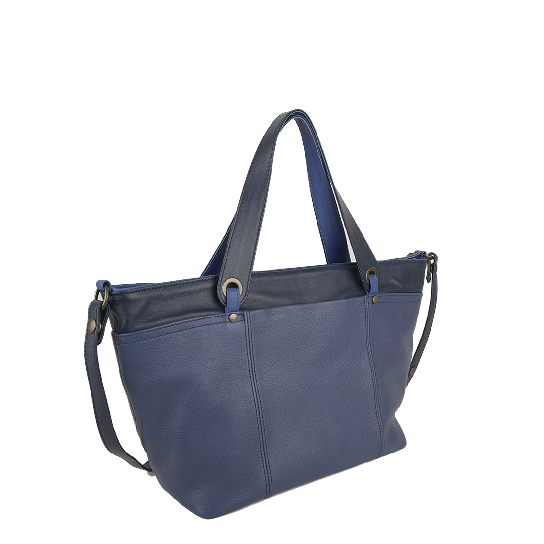 Lucy Chalk Blue Leather Tote Bag
