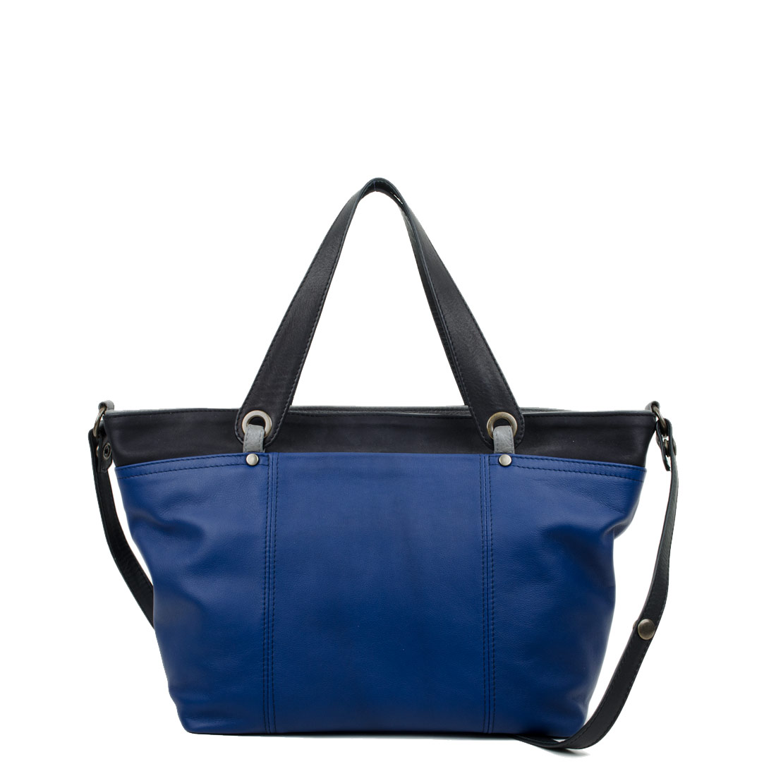 Lucy Midnight Blue with Black Leather Tote Bag