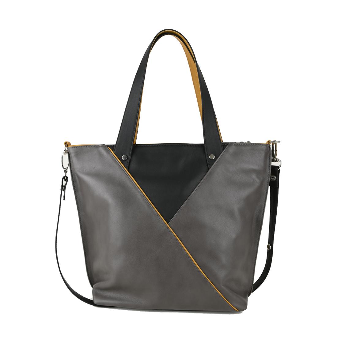 Amanda Leather Tote Bag in Grigio