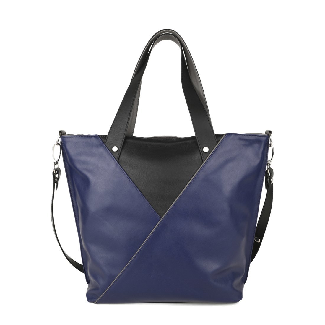 Amanda Blue Leather Tote Bag