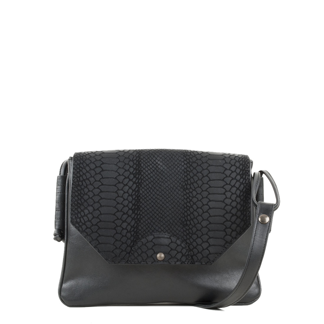 Annie Black Anaconda Satchel Bag