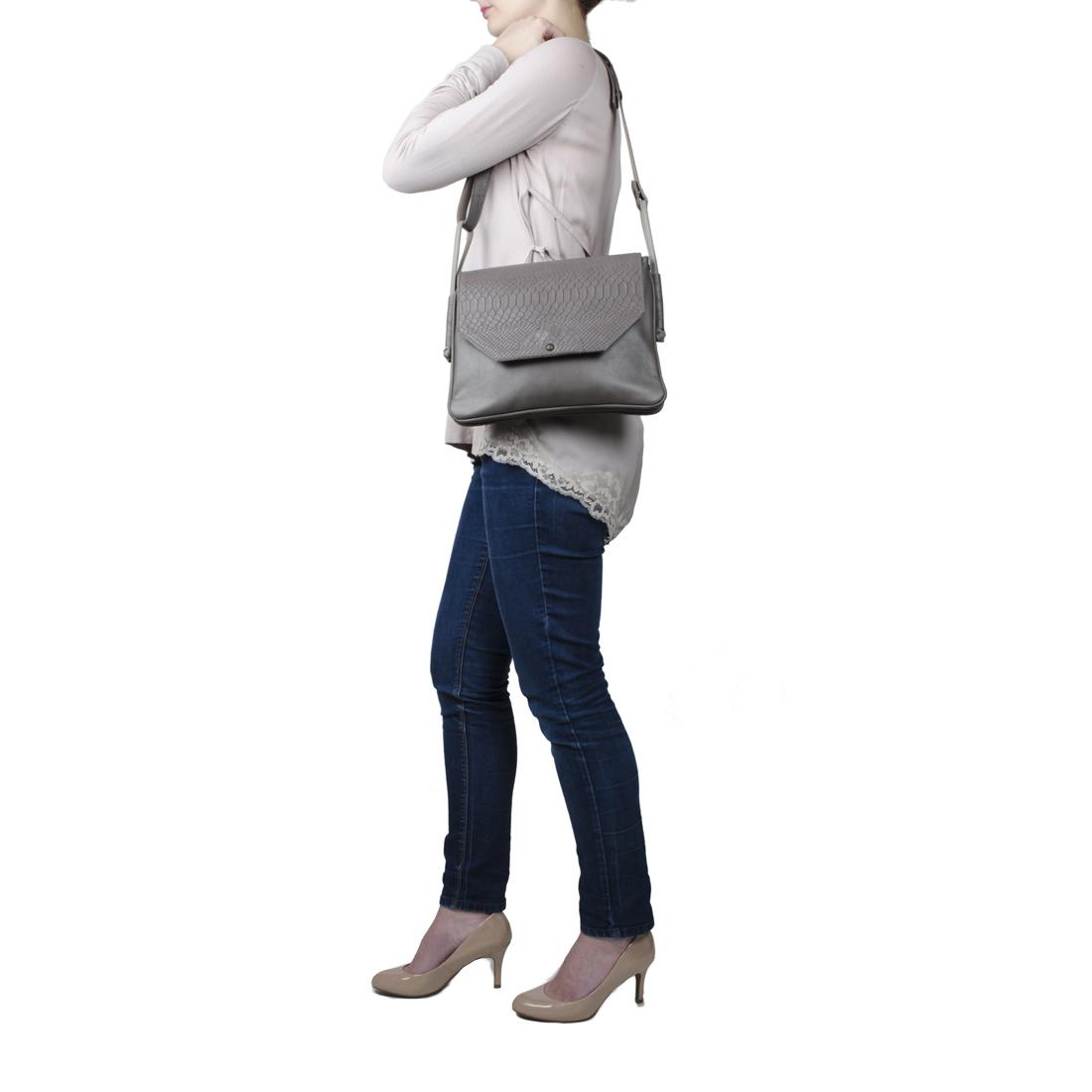 Annie Navy Anaconda Satchel Bag