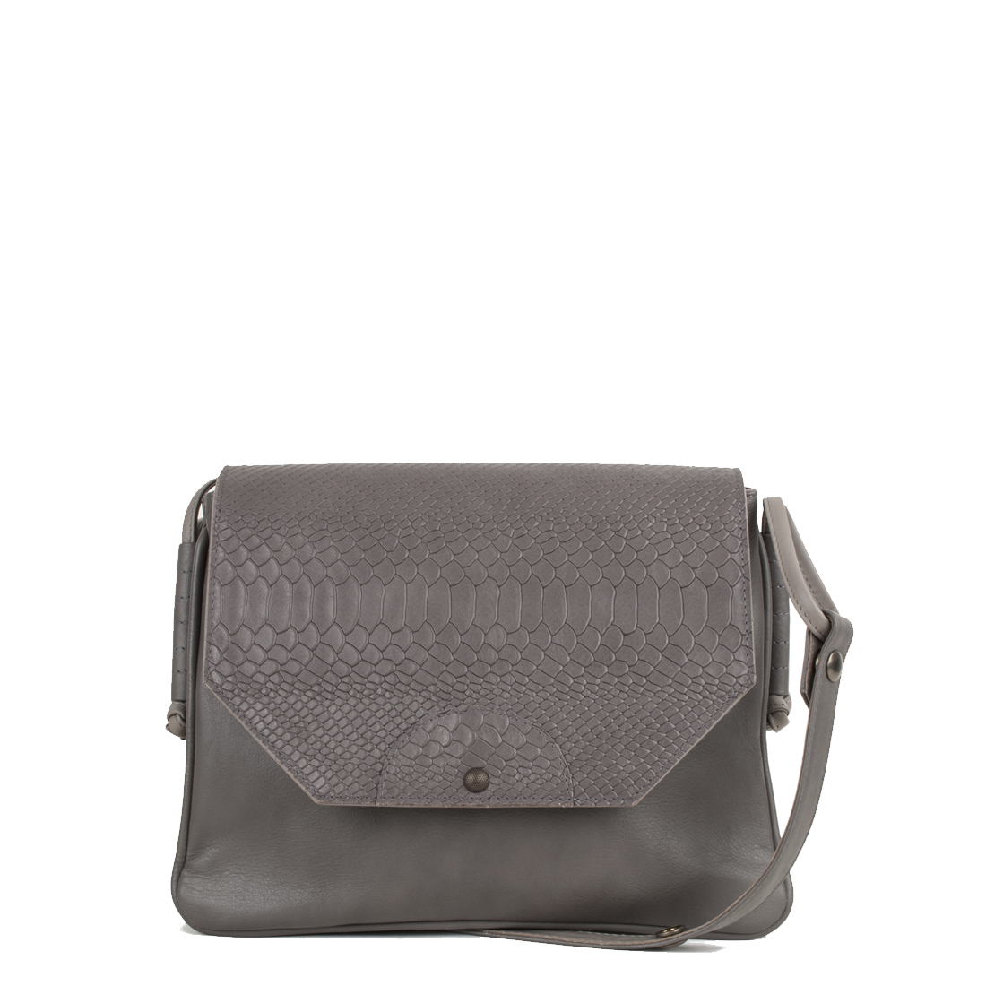 Annie Taupe Anaconda Satchel Bag