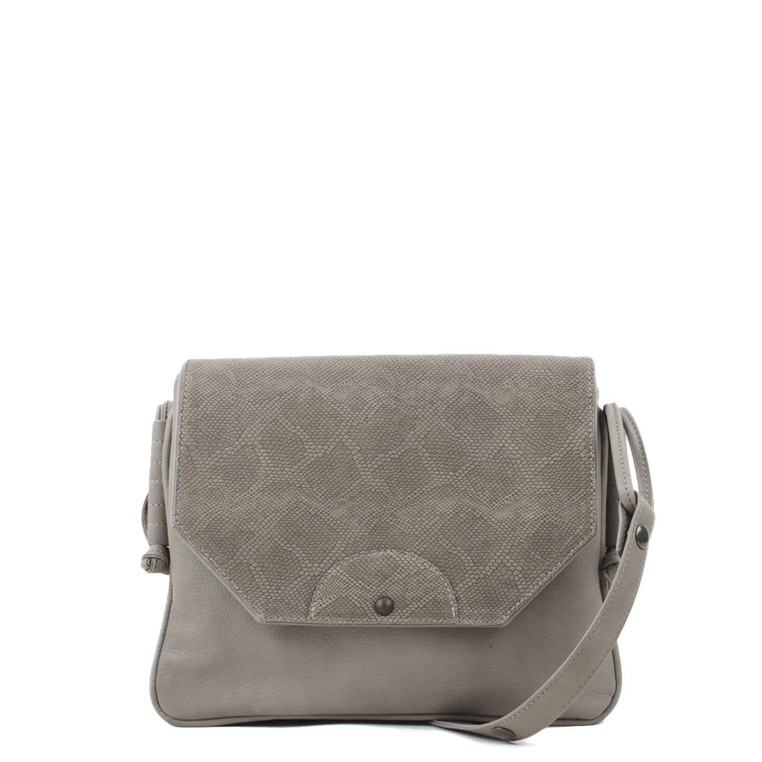 Annie Taupe Anaconda Satchel Bag