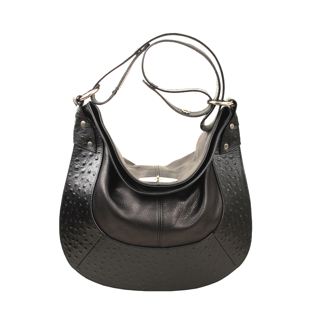 Large Horse Shoe Black Leather Shoudler Bag