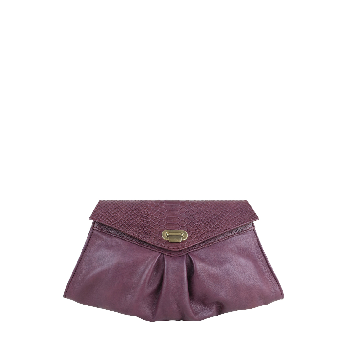 Pleated Plum Leather Clutch