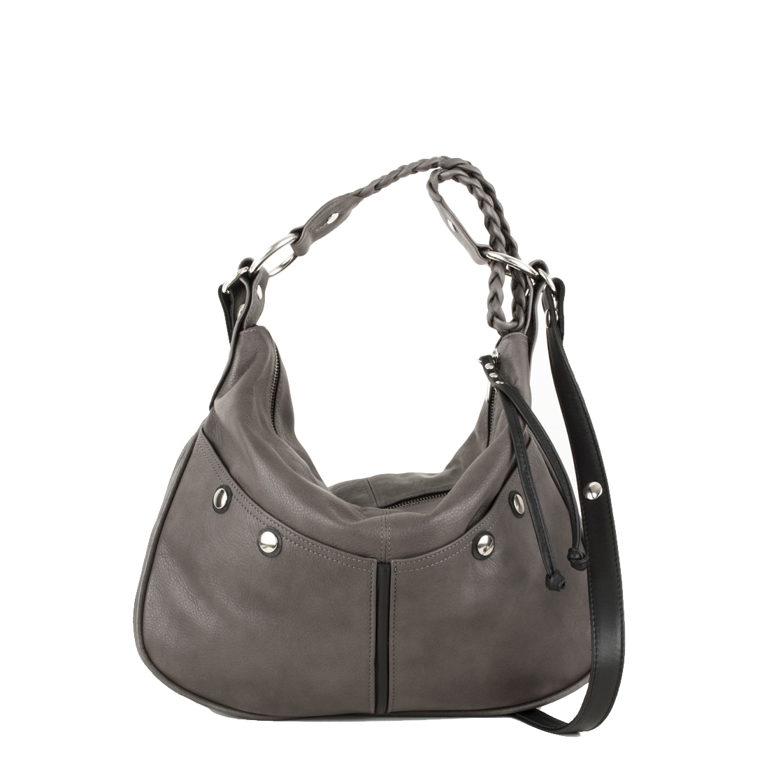 Small Plaited Satchel Grigio Across Body Bag