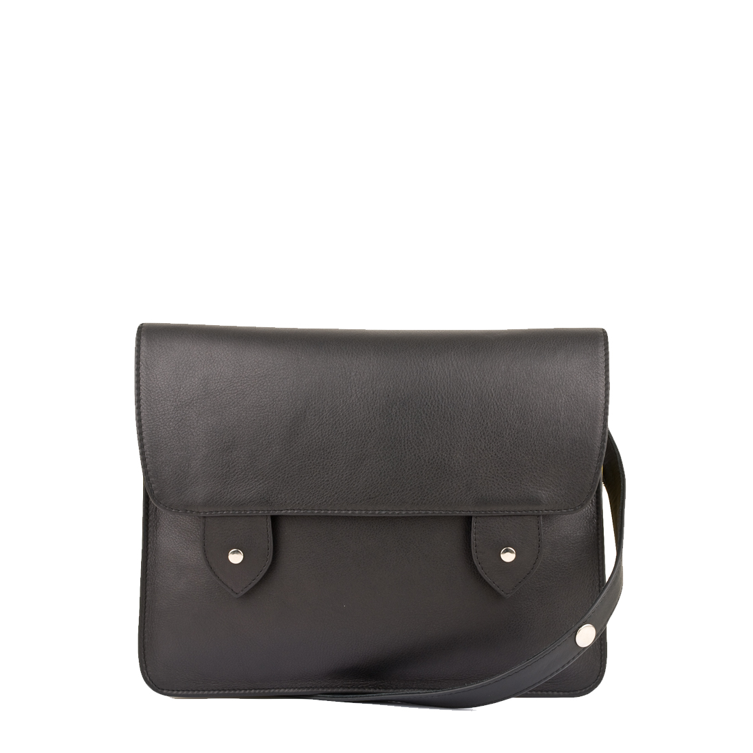 Stella Black Leather Satchel