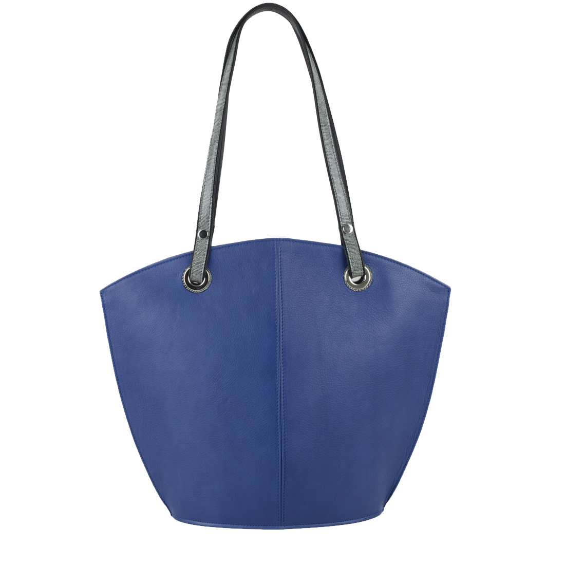 Audrey Blue Leather Tote Bag