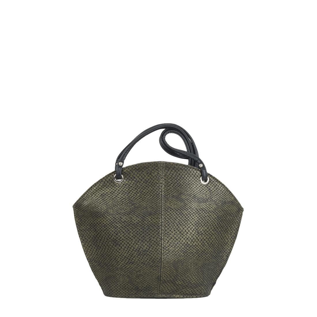 Ava Green Snake Print Leather Shoulder Bag