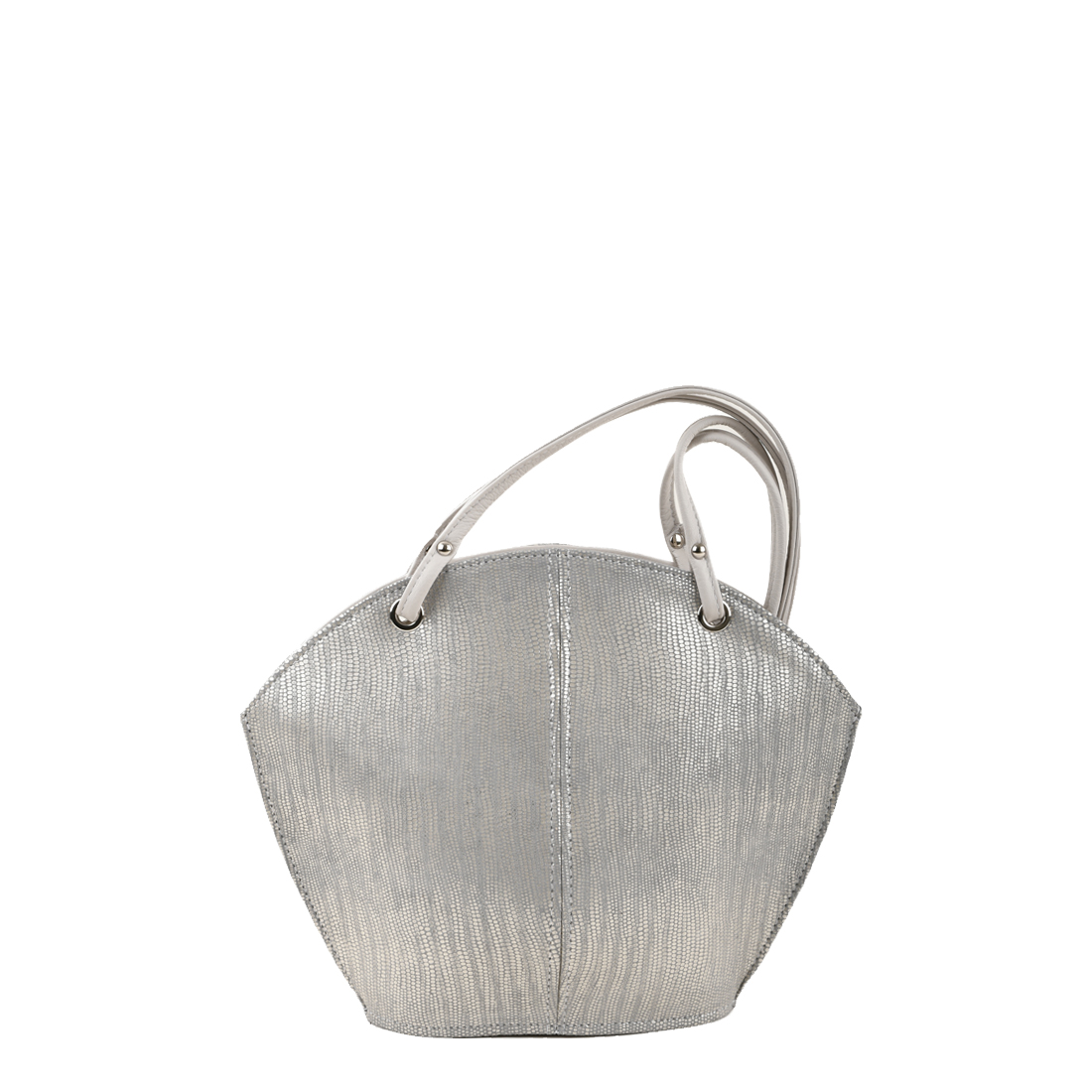 Ava Silver Eel Print Leather Shoulder Bag