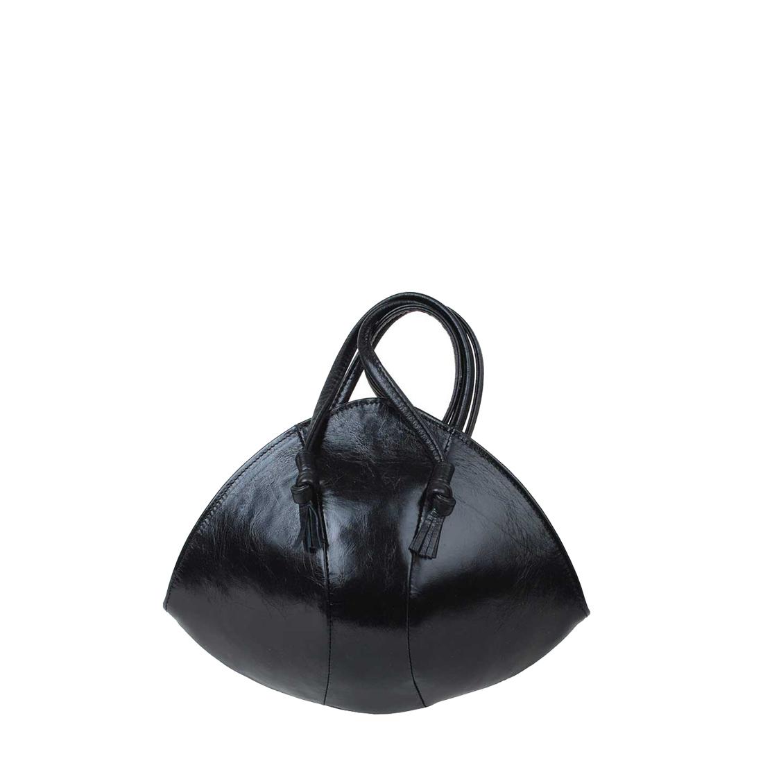Bulb Black Leather Evening Shoulder Bag