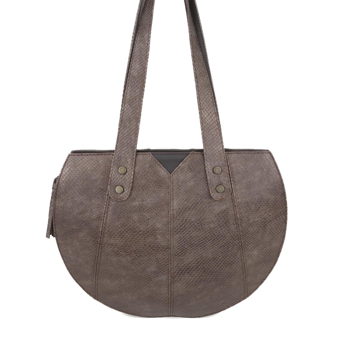 Carrie Bronze Python Print  Leather Shoulder Bag
