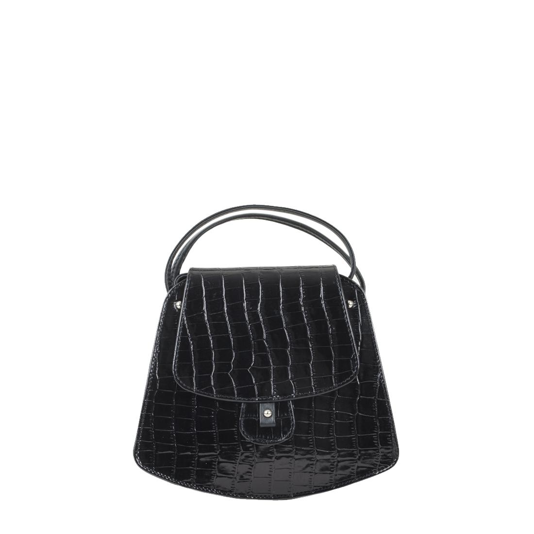Clara Black Crocodile Print Leather Shoulder Bag