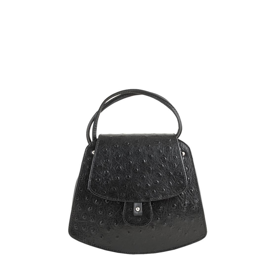 Clara Black Ostrich print Leather Shoulder Bag