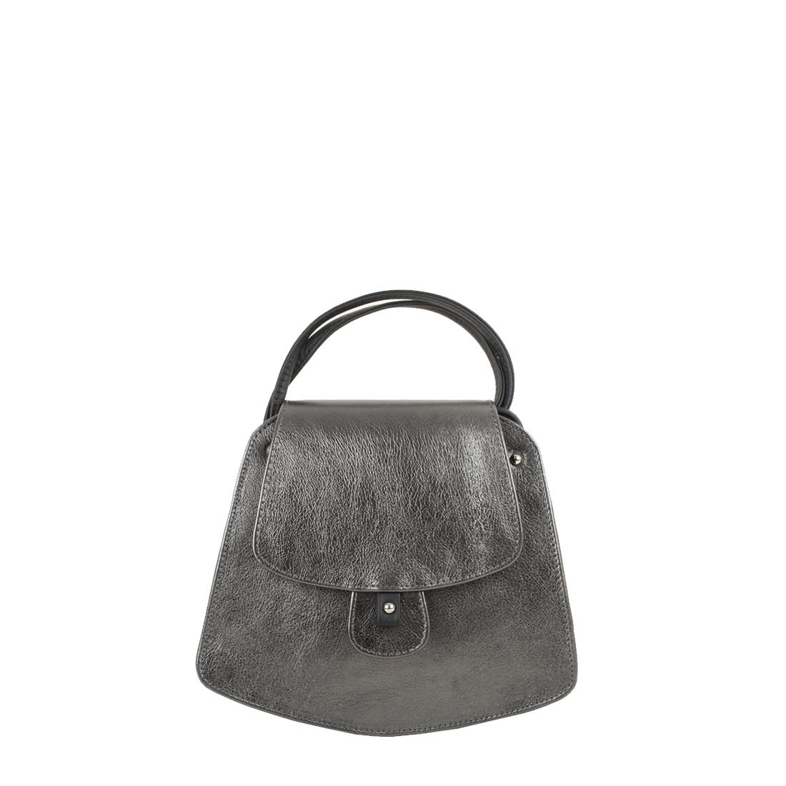 Clara Pewter Leather Shoulder Bag