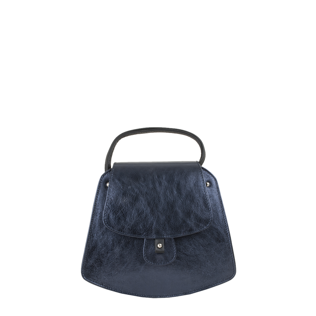 Clara Metallic Blue Leather Shoulder Bag
